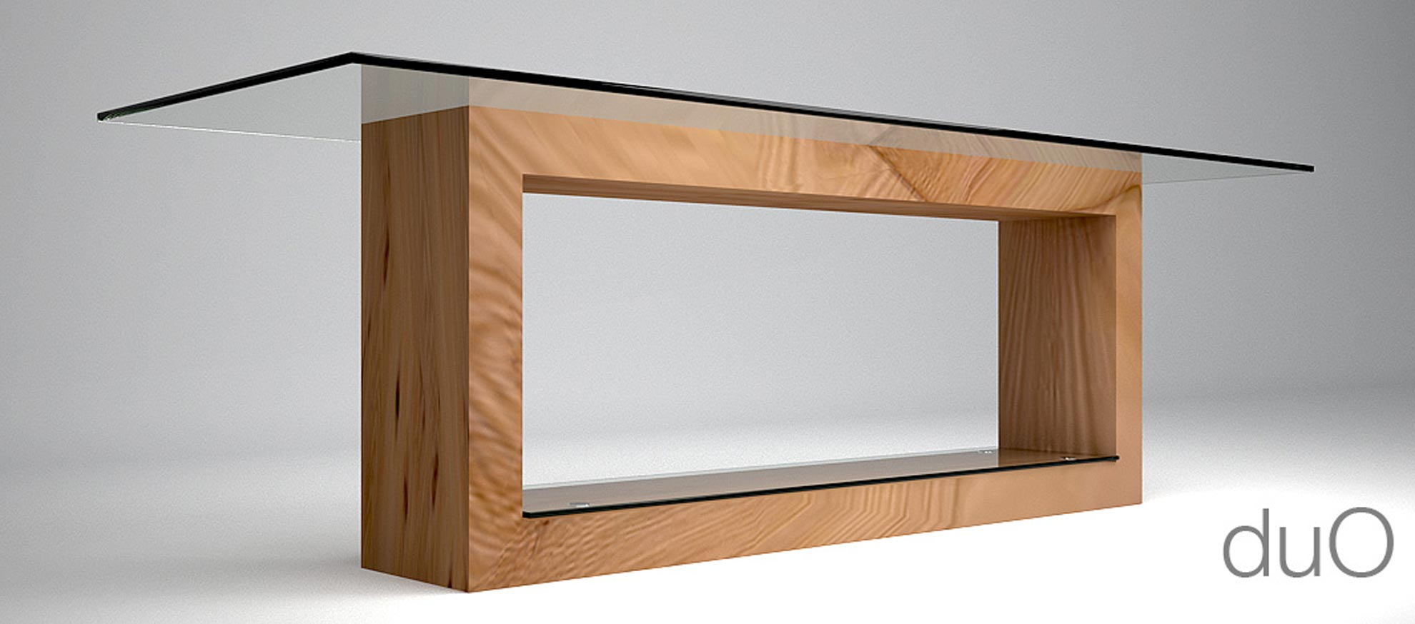 Tavolo in legno e cristallo duo architetto andrea bella for Tavolo in legno design