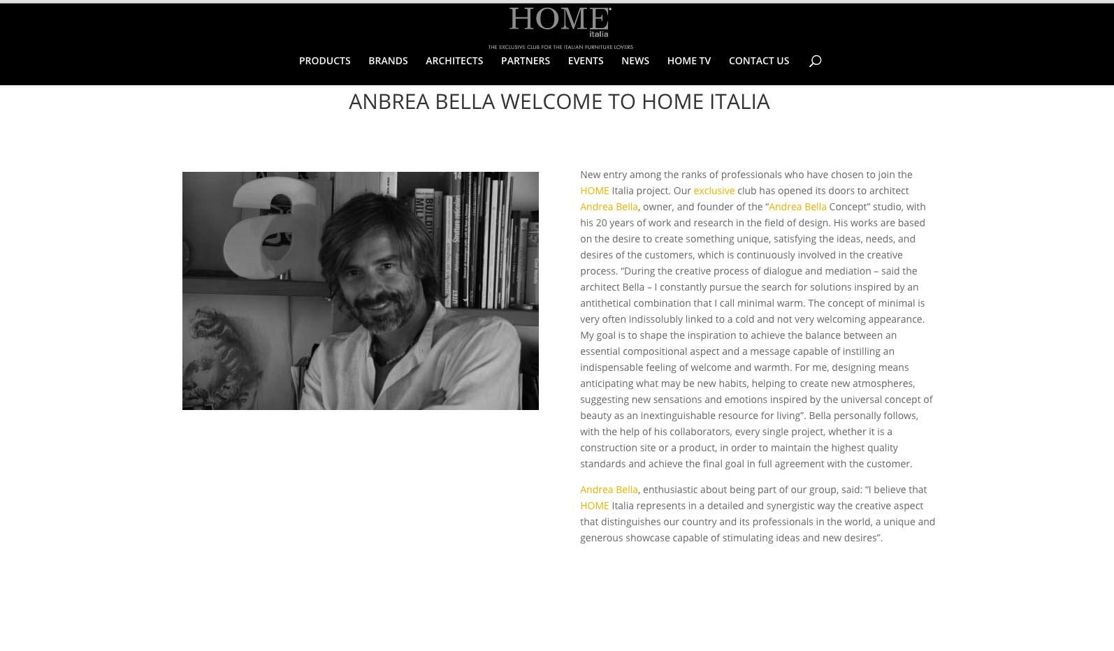 Andrea Bella Concept e Home Italia il club esclusivo per gli amanti dell'architettura e design Made in Italy